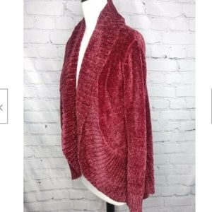A NEW DAY Chunky Chenille Wine Cardigan NWOT